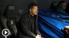 Simeone durante el derbi madrileño. (FOTO: Enrique Falcón)