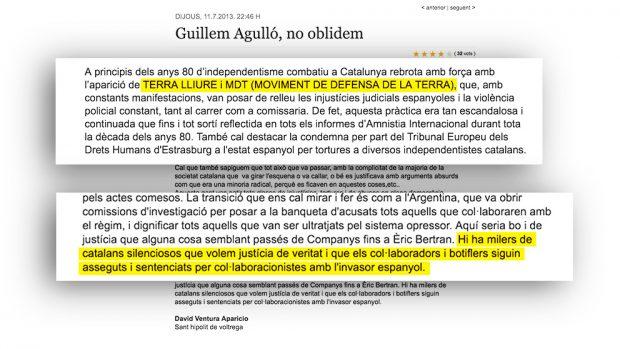 Carta del asesino independenttista David Aparicio en la que elogia a Terra Lliure