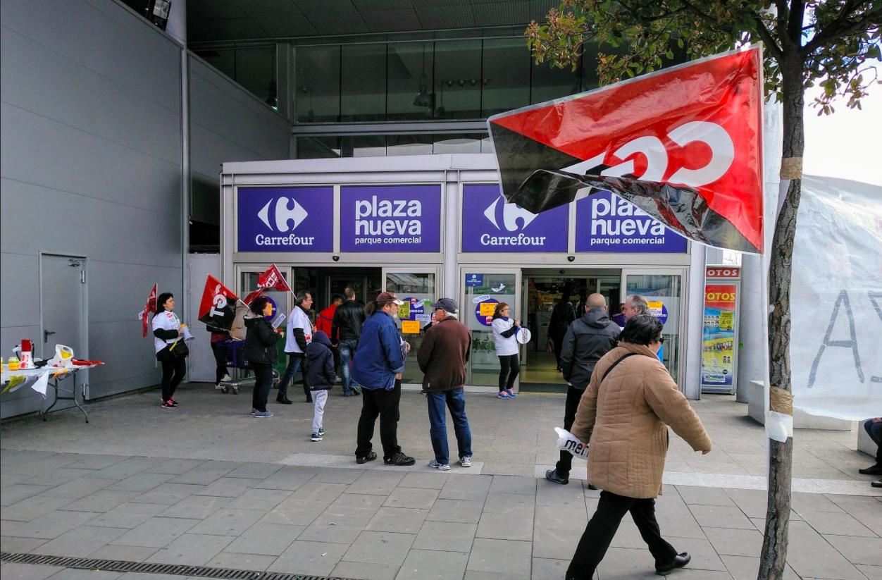 Huelga de los trabajadores de limpieza del centro de Carrefour en Leganés (Foto: CGT)