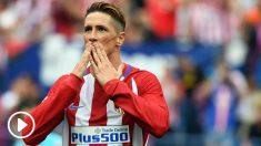 Fernando Torres lanza un beso a la afición rojiblanca. (AFP)