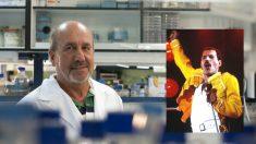 El investigador español especializado en VIH Mariano Esteban, y el líder de Queen, Freddie Mercury.