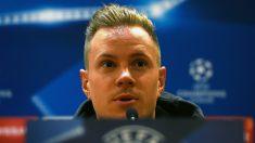 Ter Stegen, en rueda de prensa. (AFP)