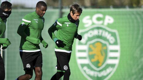 Coentrao, durante un entrenamiento con Sporting. (AFP)
