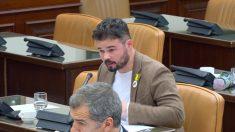 El diputado de ERC, Gabriel Rufián, en la comisión de investigación de la financiación ilegal del PP en el Congreso.