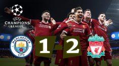 Los jugadores del Liverpool celebran uno de los goles frente al City.