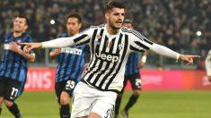 Morata celebra un gol con la Juve. (AFP)