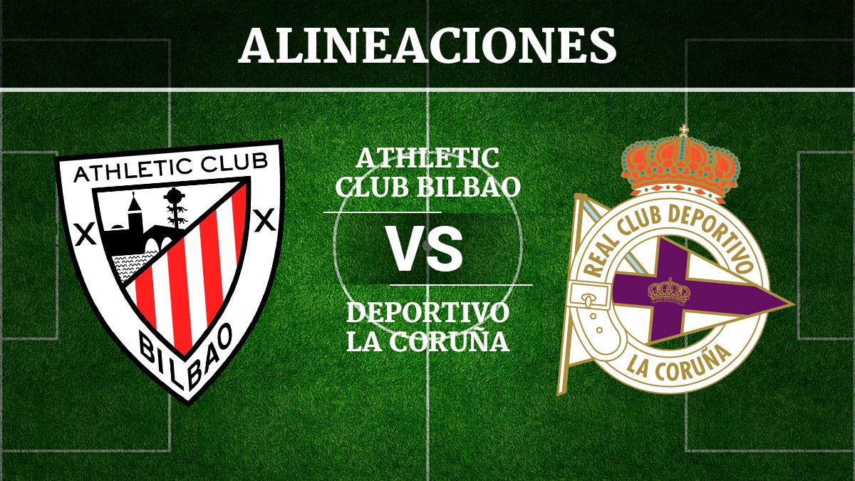 Consulta las posibles alineaciones del Athletic de Bilbao vs Deportivo de la Coruña.