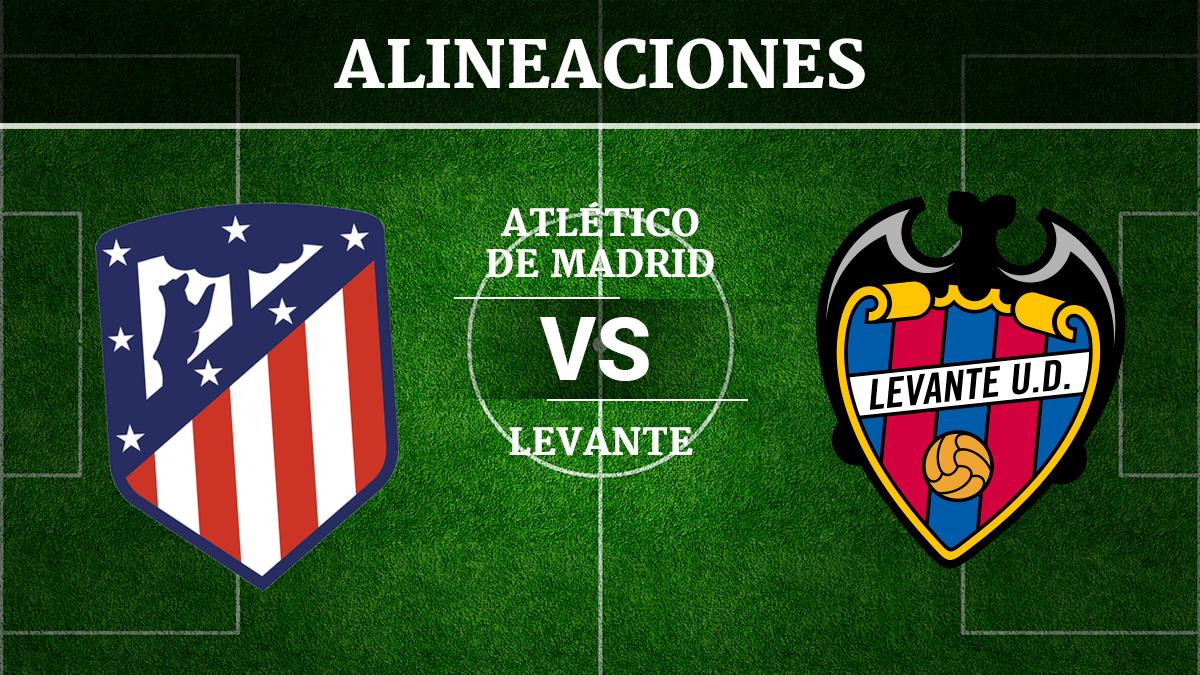Consulta las posibles alineaciones del Atlético de Madrid vs Levante.
