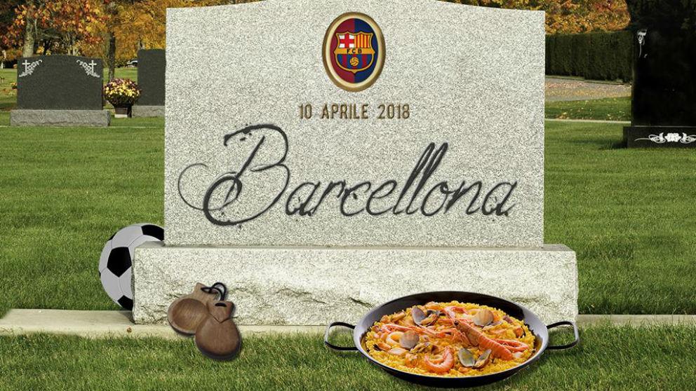 El Barcelona enterrado por una funeraria italiana. (Facebook)