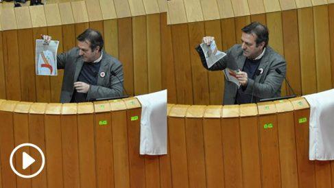 El diputado del BNG Luis Bará rompe un retrato de Felipe VI en el Parlamento de Galicia.