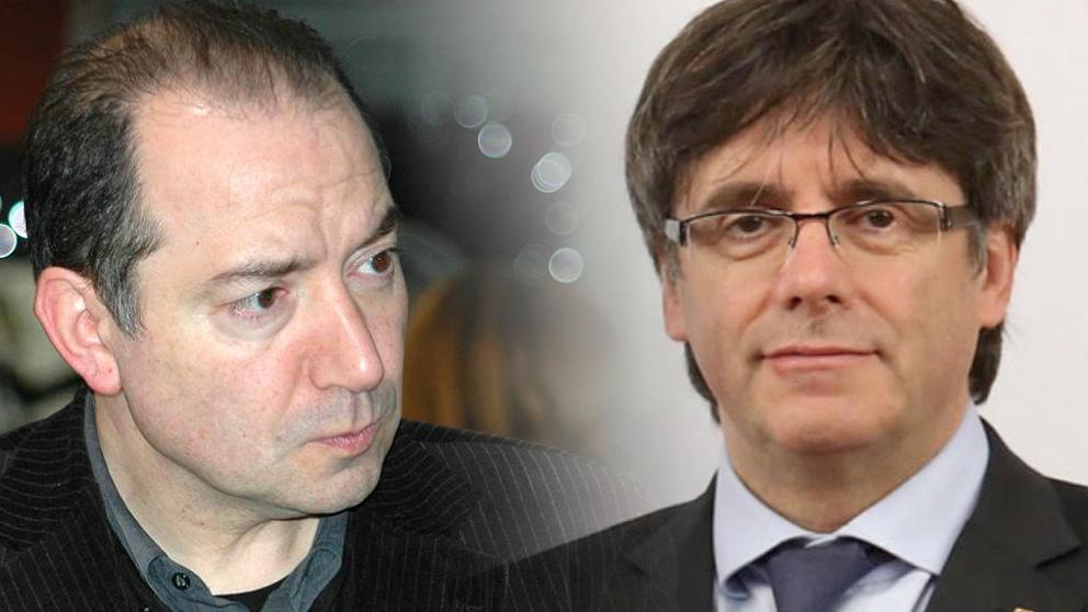 El director de TV3, Vicent Sanchis (izquierda) y el ex presidente de la Generalitat, Carles Puigdemont (derecha)