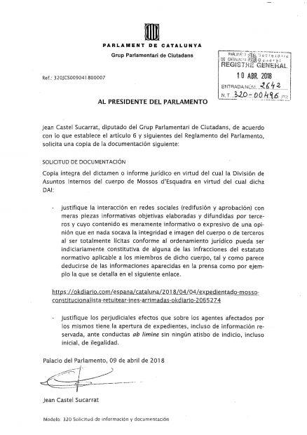 C's pide explicaciones a los Mossos por expedientar a constitucionalistas tras las noticias de OKDIARIO