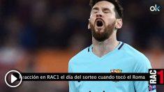 Leo Messi se lamenta tras un fallo contra la Roma.