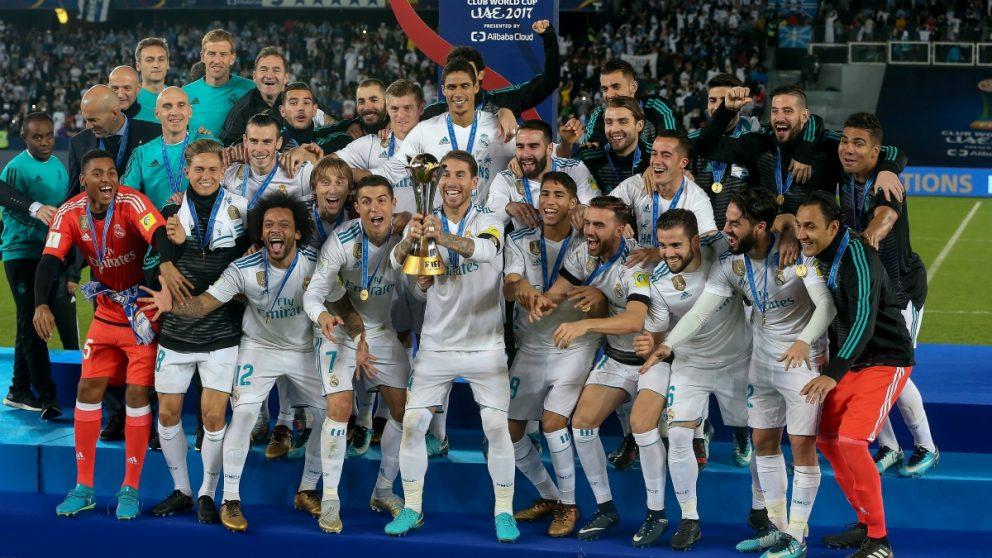 El Real Madrid celebra el Mundial de Clubes. (Getty)