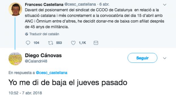 Francesc Castellana, de CCOO Cataluña anuncia su baja por la deriva separatista del sindicato