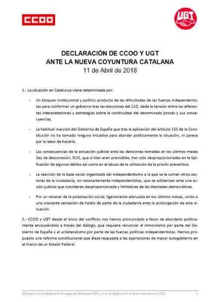 Nota de UGT y CCOO Cataluña