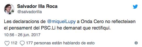 Tuit de Salvador Illa, número 2 de Miquel Iceta en el PSC