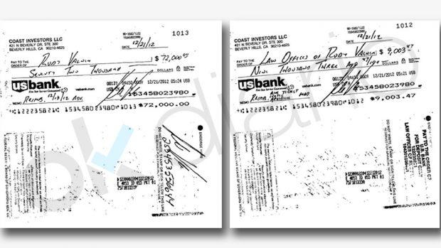 Cheques del testaferro del dúplex de Ignacio González, Rudy Valner, a través del U.S. Bank.