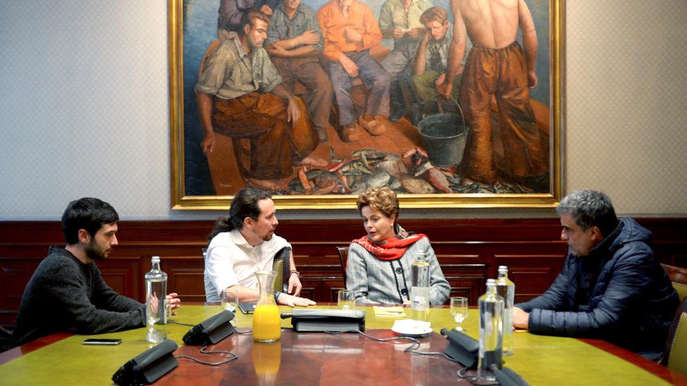 Pablo Iglesias y Dilma Rousseff. (Foto: EFE)