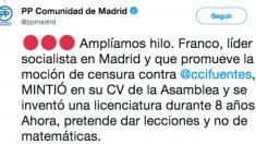 El tuit del PP de Madrid que arremete contra José Manuel Franco por falsear su CV