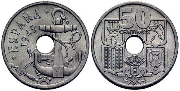 Moneda de 50 céntimos de 1949 con las flechas hacia abajo.