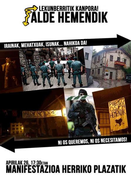 Cartel de Alde Hemendik ('Fuera de Aquí') contra las FFSSEE