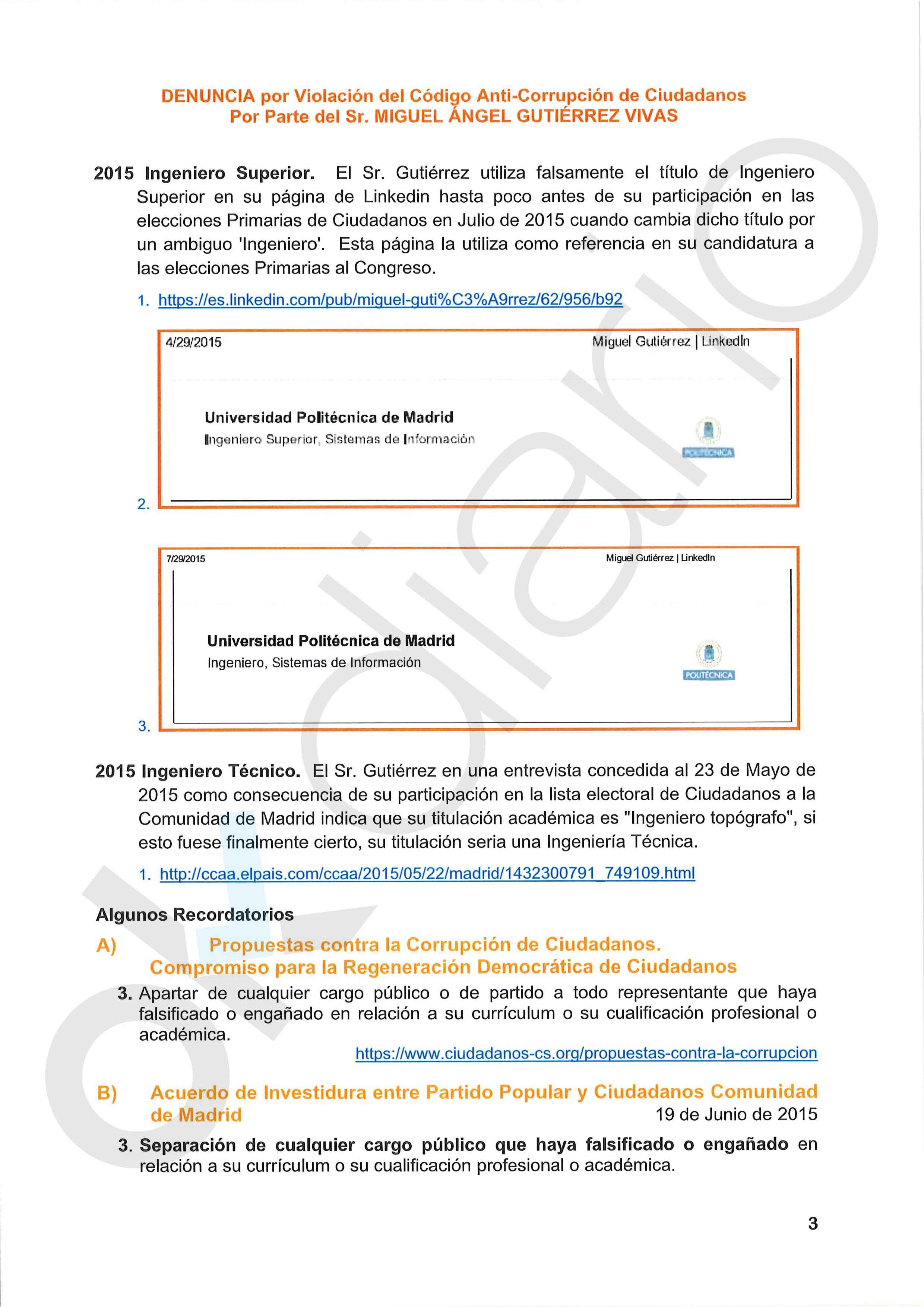 C's frenó una denuncia interna contra Miguel Gutiérrez por falsear su titulación