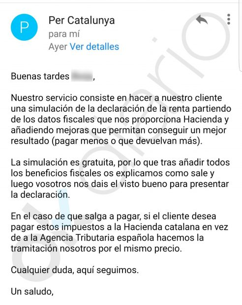 Montoro multará a quienes declaren la renta en la Hacienda catalana animados por plataformas independentistas