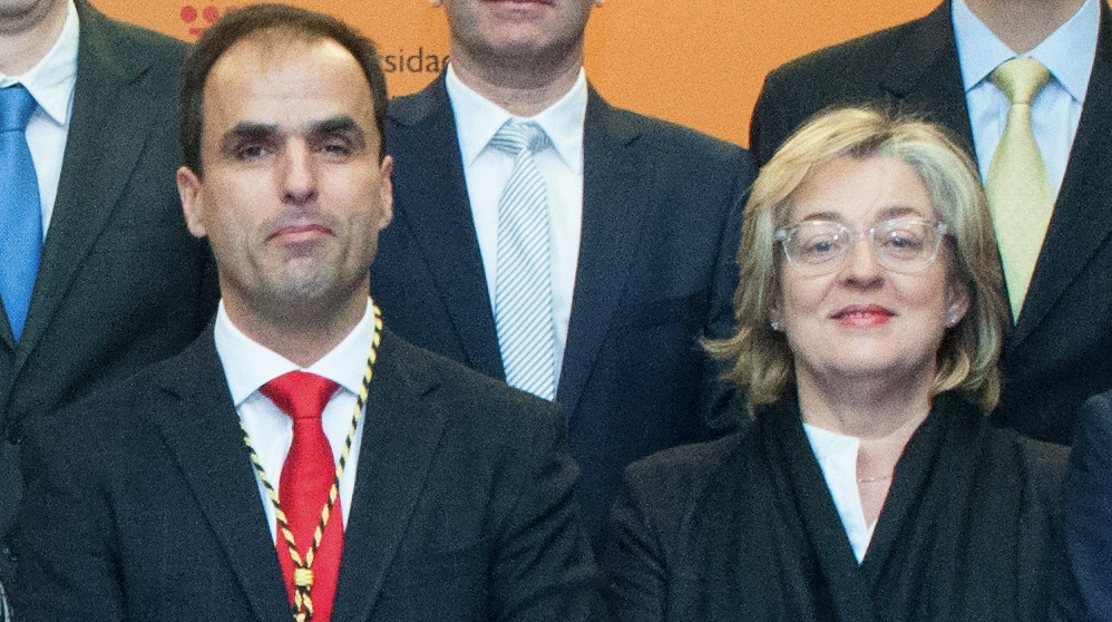 El rector Javier Ramos y la ex gerente Teresa S. Magdaleno. (Foto. URJC)