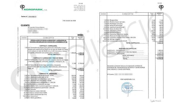 Presupuesto solicitado por Ignacio González a la paisajista italiana.