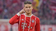 James Rodríguez, en un partido del Bayern. (Getty)