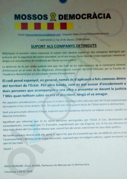 Nota de los Mossos independentistas en Hospitalet