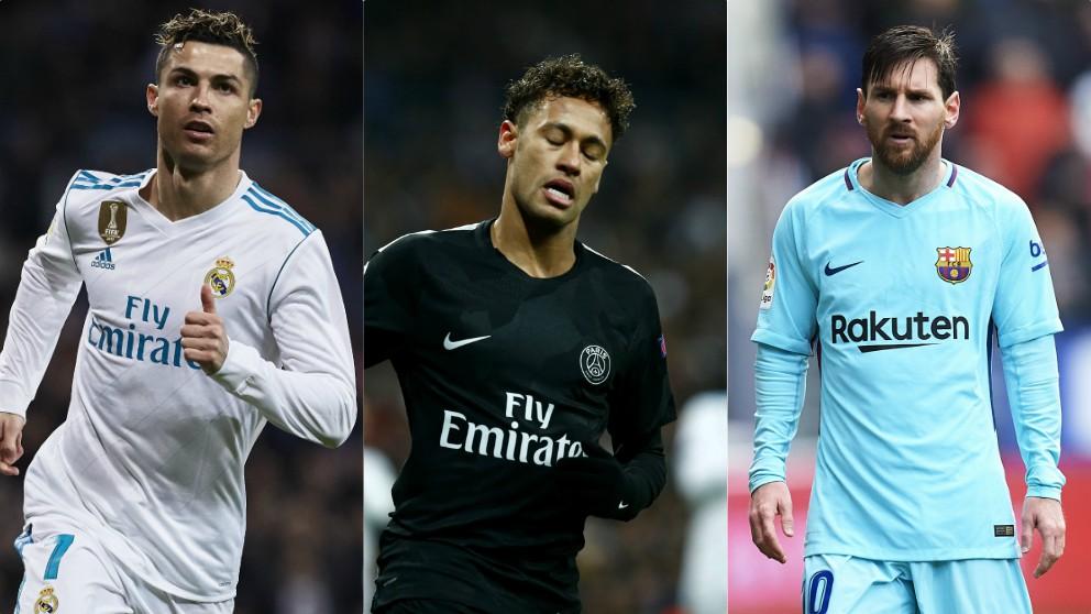 Cristiano Ronaldo, Neymar y Leo Messi.
