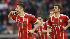 Robert Lewandowski celebra un gol con el Bayern de Múnich. (Getty)