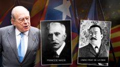 Los ex presidentes de la Generalitat Jordi Pujol Soley y Francesc Macià, junto a Prat de la Riba, fundador de la Lliga Regionalista.