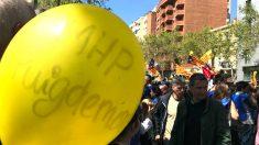 Un globo de apoyo a Puigdemont en la manifestación de este domingo en Barcelona (Foto: Joan Guirado).