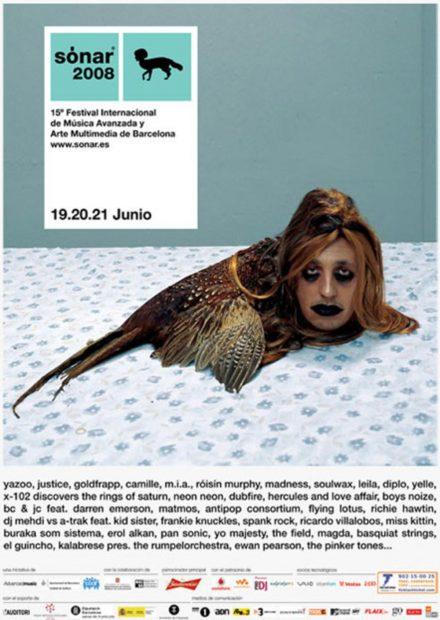 Cartel de la programación de Sónar 2008 con la imagen conocida como 'La Pajarraca'