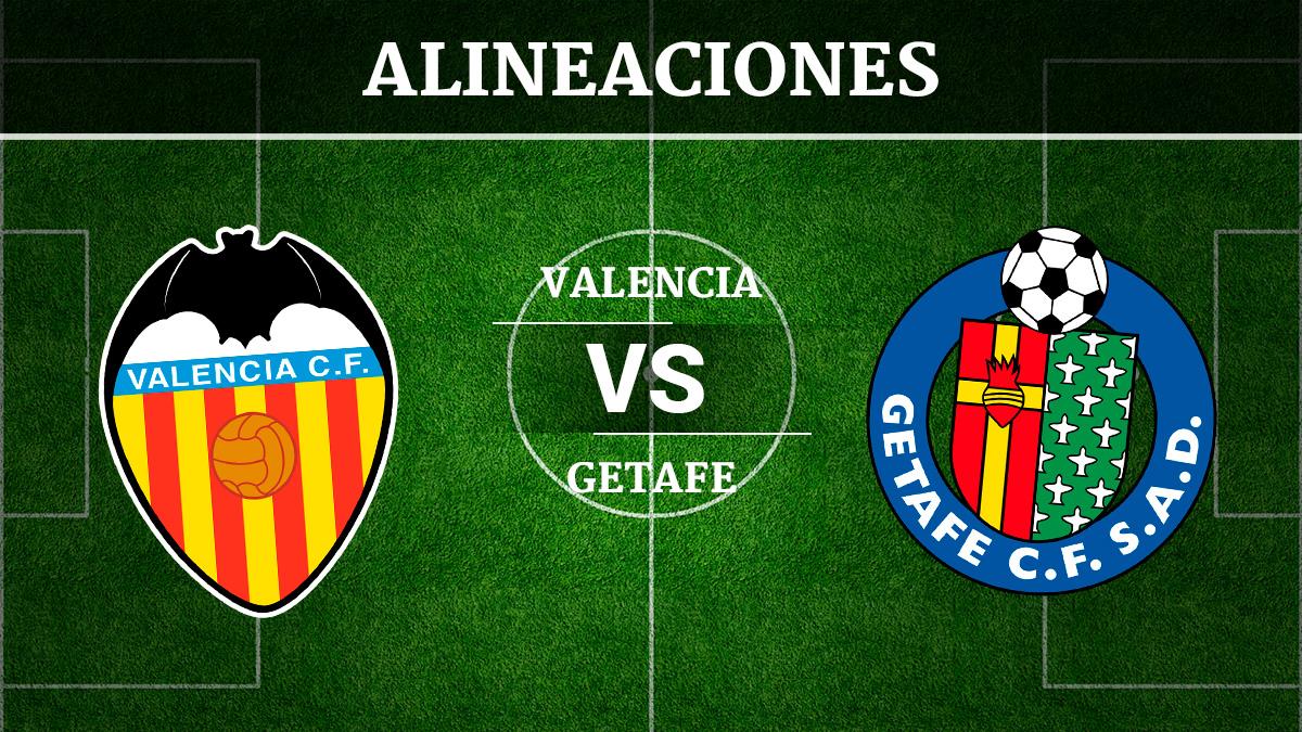 Consulta las posibles alineaciones del Valencia vs Getafe.