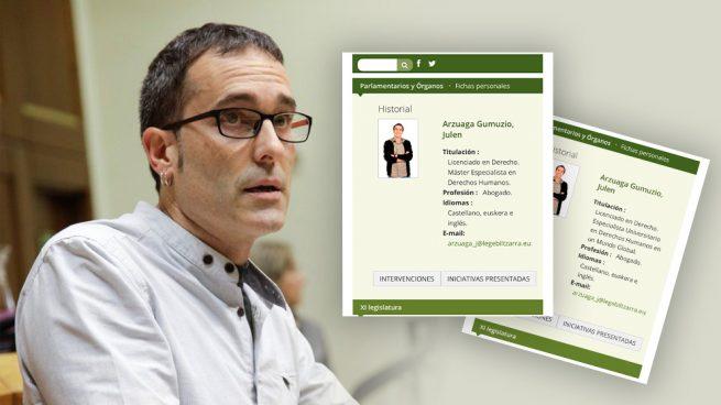 Un diputado bilduetarra limpia su currículum oficial y se queda sin máster en derechos humanos
