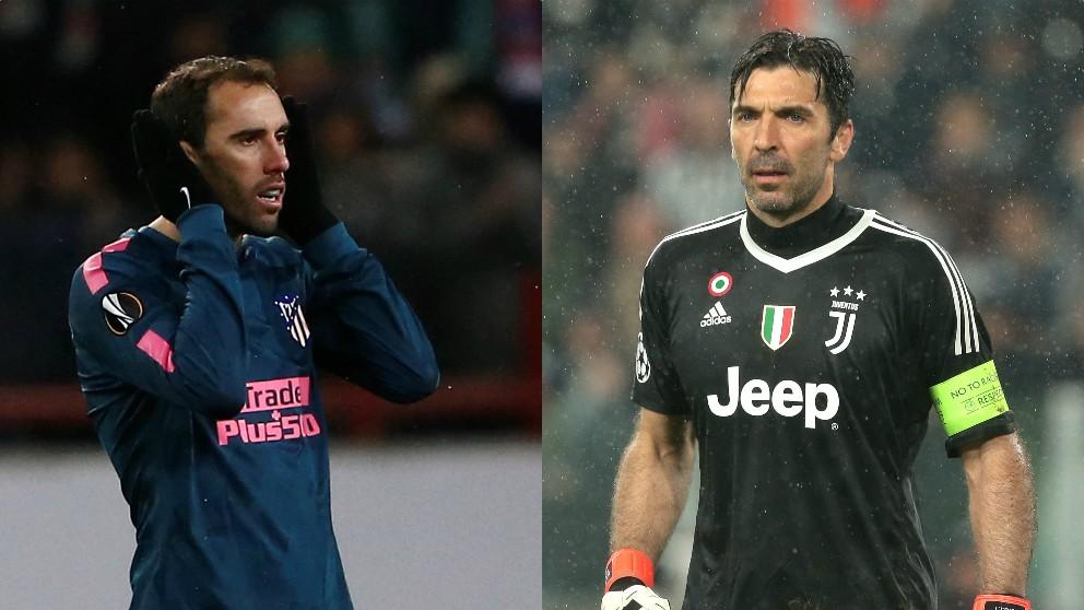Diego Godín y Gianluigi Buffon.
