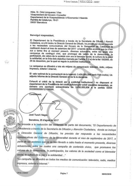La Guardia Civil desmiente a Montoro: hubo dinero público en la financiación del 1-O