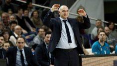 Pablo Laso, en un partido de Euroliga con el Real Madrid. (Getty)