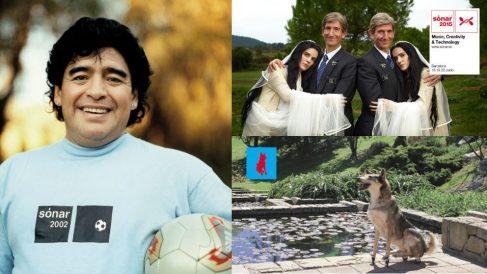 El futbolista Maradona fue imagen de Sónar en 2002, la boda de las gemelas telequinéticas en 2015; y el perro en ruedines fue imagen del festival en 1999. Fotos: Sónar