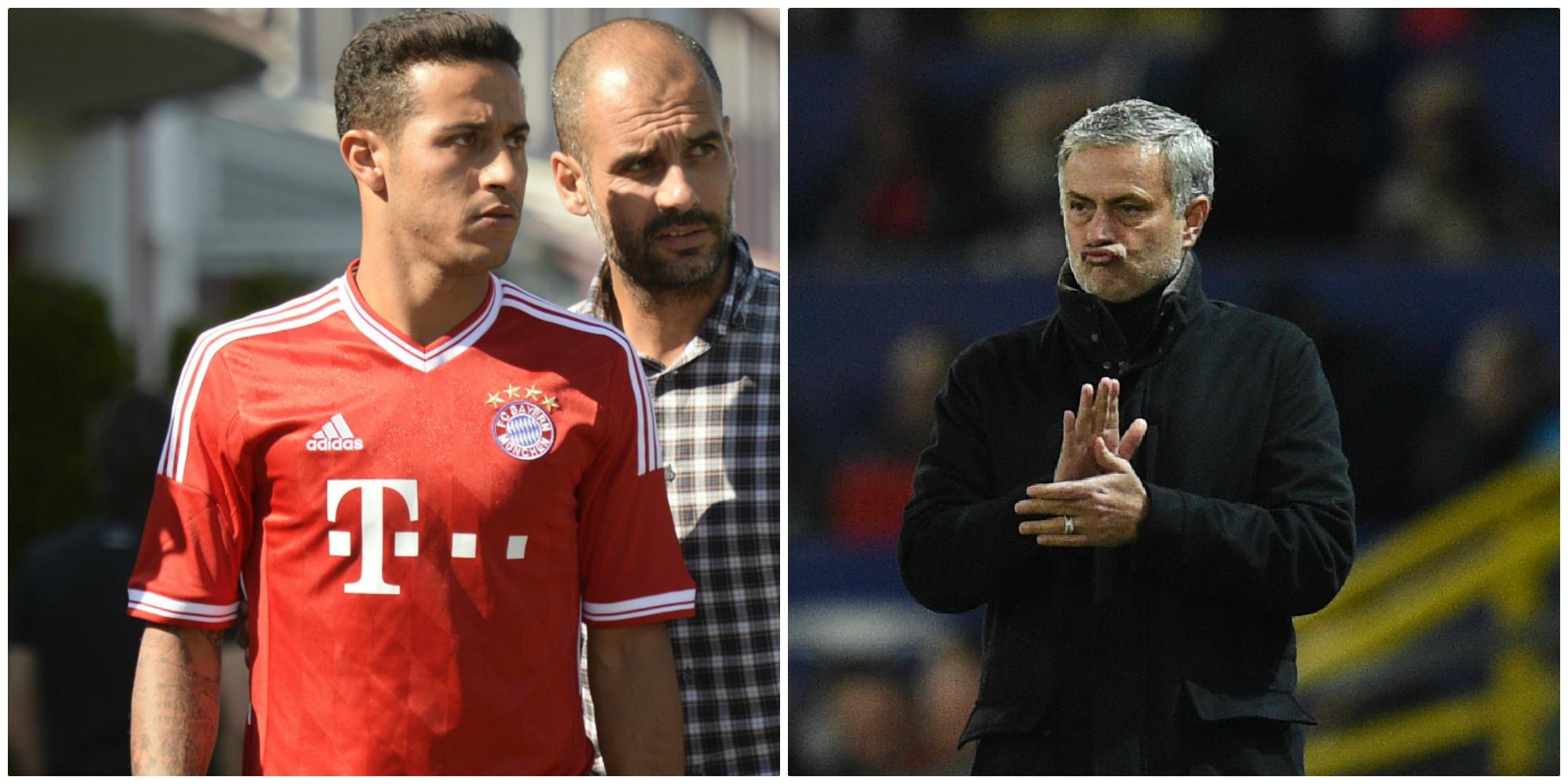 Thiago y Guardiola durante su etapa en el Bayern; Mourinho en el Manchester United. (Fotos: AFP)