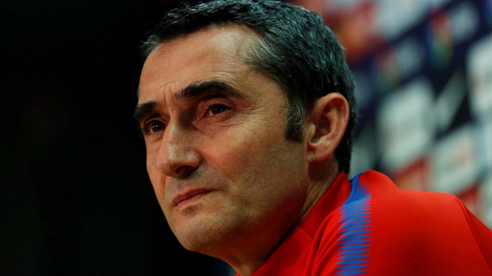 Ernesto Valverde durante la rueda de prensa. (EFE)