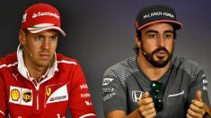 Fernando Alonso y Sebastian Vettel , en una rueda de prensa. | Fernando Alonso | Fórmula 1 | F1 2018. (Getty)