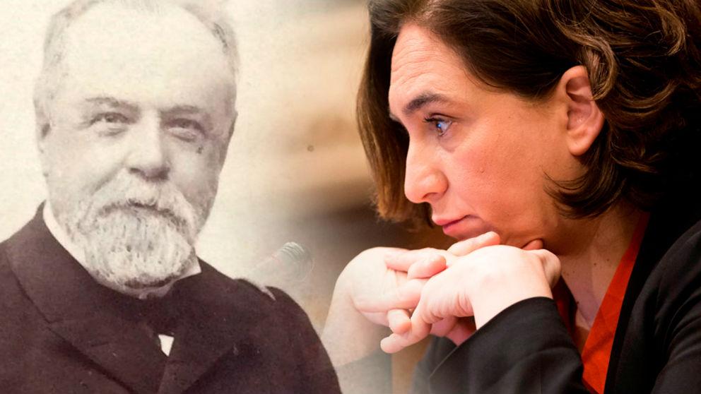 A la izquierda, un retrato del almirante Cervera y a la derecha, la alcaldesa de Barcelona, Ada Colau
