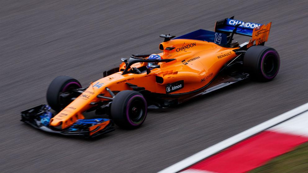 Fernando Alonso, con su McLaren en el GP China de Fórmula 1.   Fernando Alonso   F1 2018. (Getty)