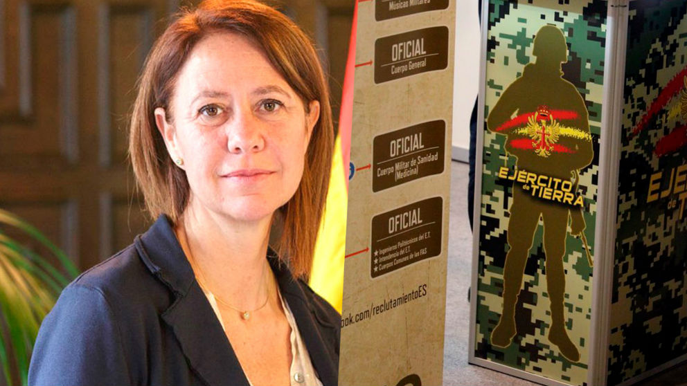 La alcaldesa de Gerona, Marta Madrenas, junto a un dibujo de un soldado del Ejército
