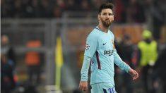 Leo Messi, a la conclusión del partido en Roma. (AFP)